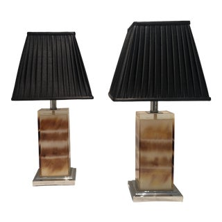 Amber Color Rectangular Resin Lamps - a Pair For Sale