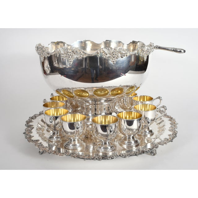 Vintage English Georgian Style Silver Plated Copper Punch Bowl Set - 15 Pc. For Sale - Image 12 of 13