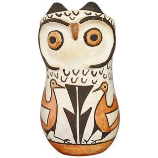 Native American Acoma Polychromed Owl Jar by Frances Torivio, Circa 1960s For Sale