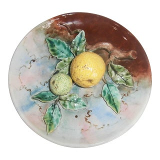 19th Century French Provincial Fives Lille Majolica Grapefruit Wall Plate For Sale