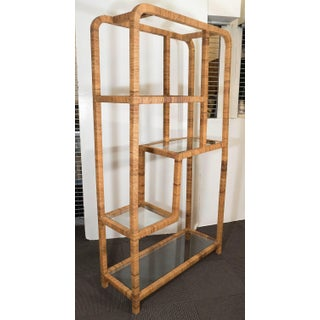 Pair Mid-Century Modern Rattan Wrapped Boookcases - Etageres Milo Baughman Preview