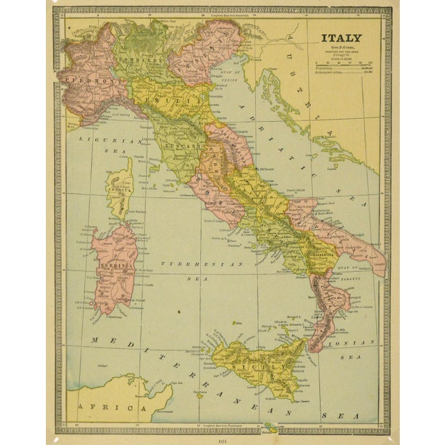 Illustration Vintage Map of Italy, 1890 For Sale - Image 3 of 3