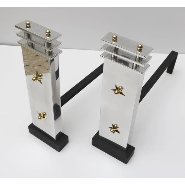 Art Deco Aluminum and Brass Andirons - A Pair - Image 7 of 9