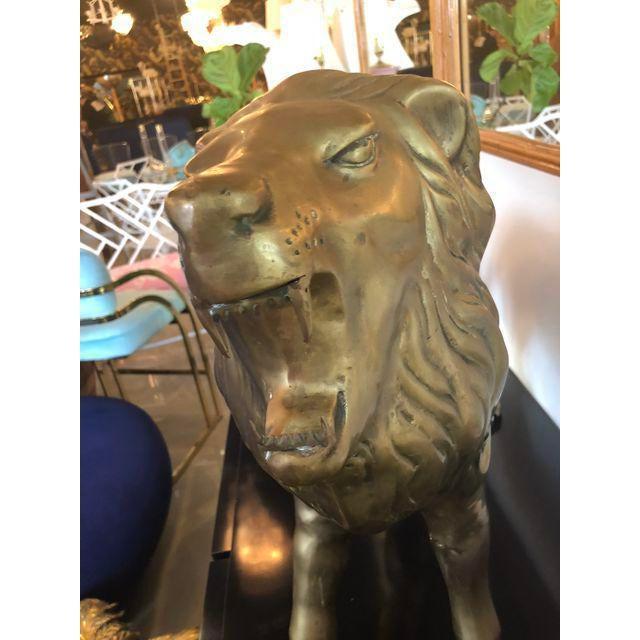 Vintage Brass Lion Statue For Sale - Image 4 of 10