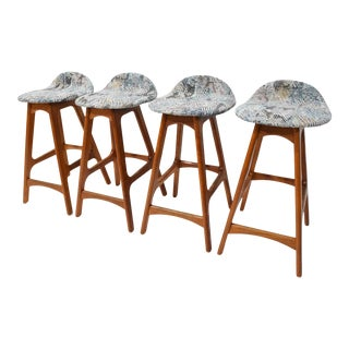Set of Four Counter Height Stools by Erik Buch, 1960s For Sale
