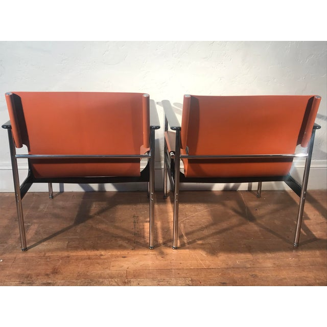 Knoll Charles Pollock for Knoll 657 Sling Lounge Chairs- a Pair For Sale - Image 4 of 12