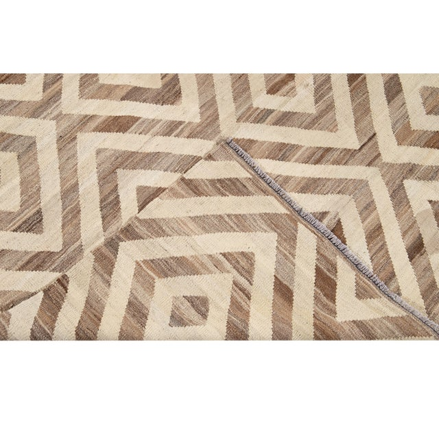 Contemporary 21st Century Modern Kilim Wool Rug For Sale - Image 3 of 12