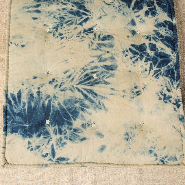 Mid 20th Century Vintage Luxury White & Blue Bench Pillow For Sale - Image 5 of 5