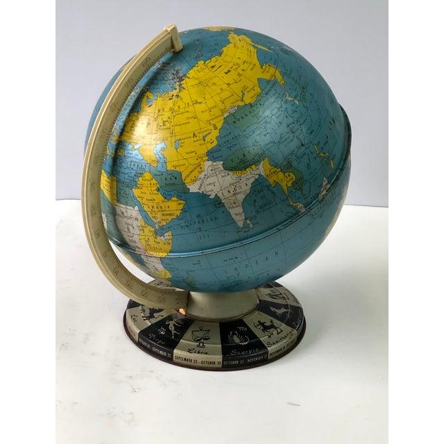 Retro Metallic World Globe With Zodiac Base For Sale - Image 4 of 13