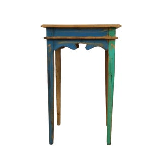 Reclaimed Peroba Wood Handmade Carved Side Table For Sale