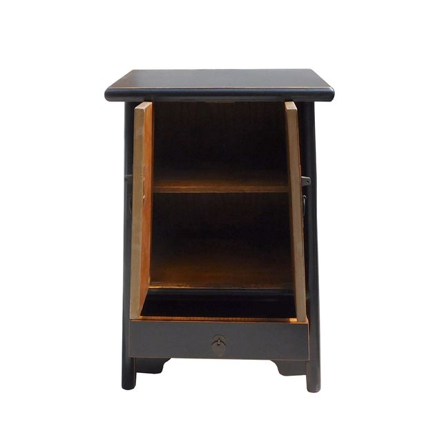 Chinese-Style Tapered Black Nightstand - Image 4 of 5
