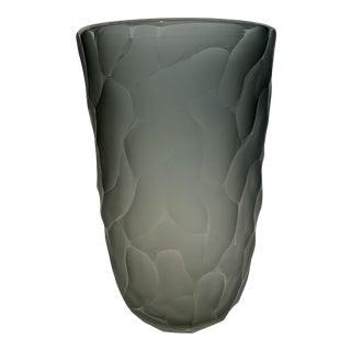 21st Century Gray Murano Crystal Battuto Vase (L) by Alberto Dona For Sale