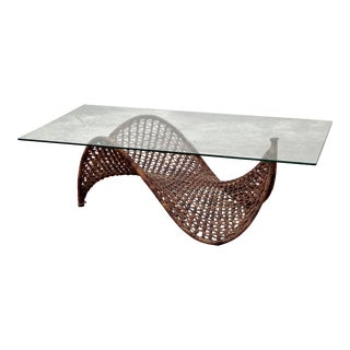 Italian Rope and Glass Coffee Table For Sale