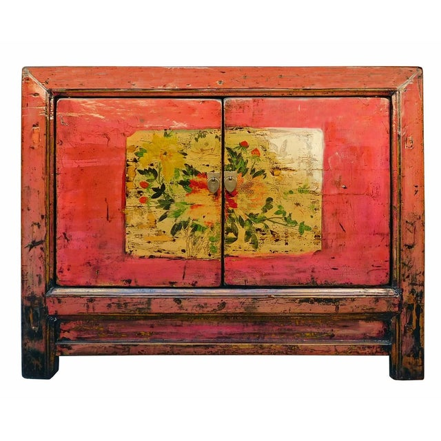 Distressed Chinese Pink Floral Console Cabinet - Image 1 of 8