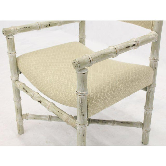 Pair of Distressed Finish Faux Bamboo Capitan Chairs With X Bases For Sale - Image 11 of 13
