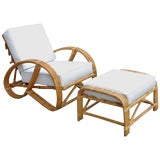 Image of Rare Restored Rattan Reclining Lounge Chair With 3/4 Pretzel Arms and Ottoman For Sale