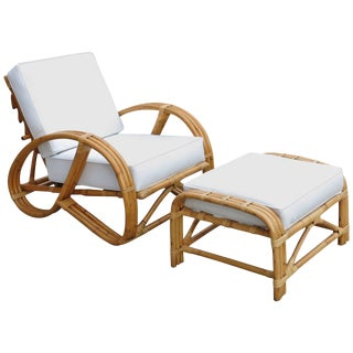 Rare Restored Rattan Reclining Lounge Chair With 3/4 Pretzel Arms and Ottoman For Sale