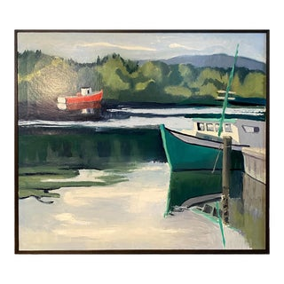 Coastal Maine Shore With Boats Oil on Canvas Painting, Framed For Sale