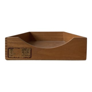Vintage Dovetailed Wooden Desk Organizer For Sale