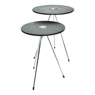 Mid-Century Modern Mexican Round Nesting Tables in Black - a Pair For Sale