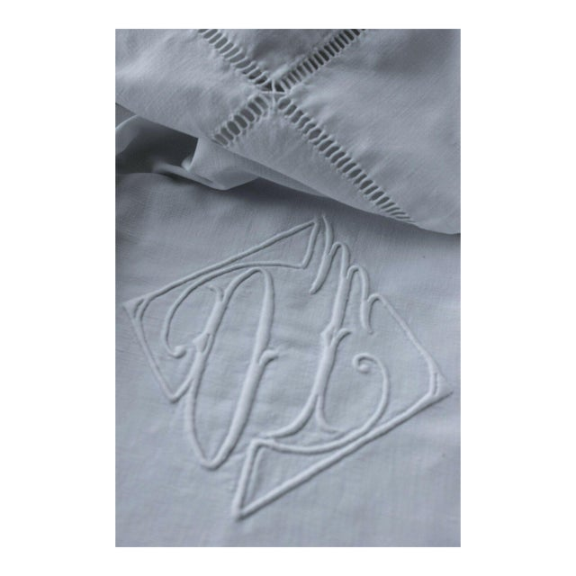 "Vintage French Sheet White Woven Cotton ""OT"" Monogram Fabric - 87"" X 117"" For Sale"