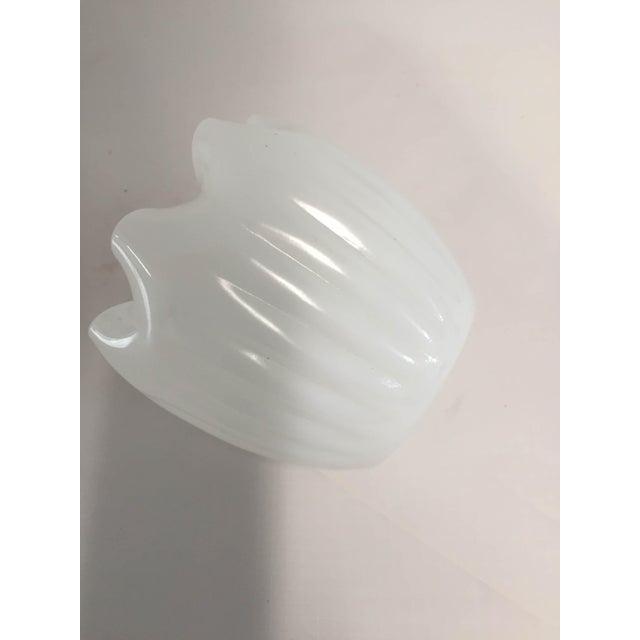 Midcentury Modern Milk Glass Ruffle Vase For Sale - Image 5 of 7