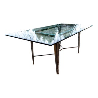 Vintage Glass Top and Steel Rectangular Dining Table For Sale