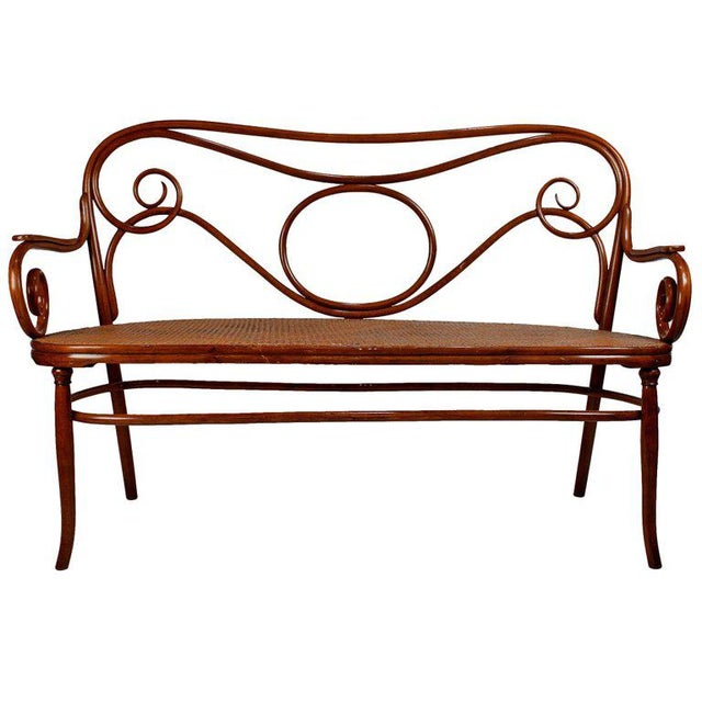 Bentwood Gebruder Thonet Viennese Secessionist Bentwood Settee Designed by August Thonet For Sale - Image 7 of 7