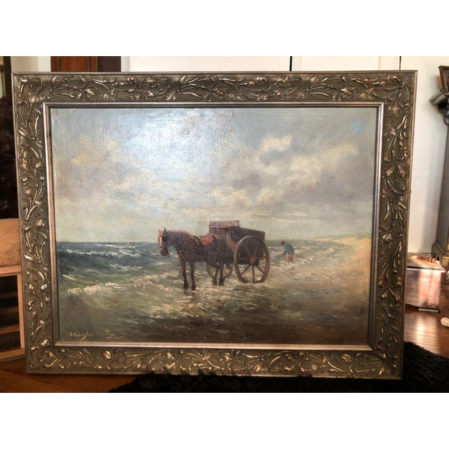 Henriette Hubregtse-Lanzing Antique Dutch Oil Painting, Horse & Fisherman For Sale In Los Angeles - Image 6 of 10