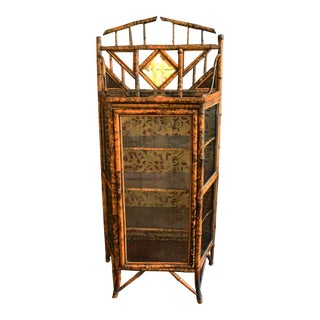 19th Century Vintage Bamboo & Glass Cabinet For Sale
