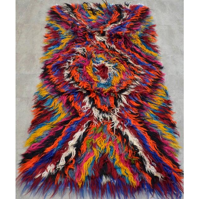"Vintage Boho Chic Mohair Shaggy Tulu Kilim - 3'6"" X 7'3"" - Image 4 of 10"