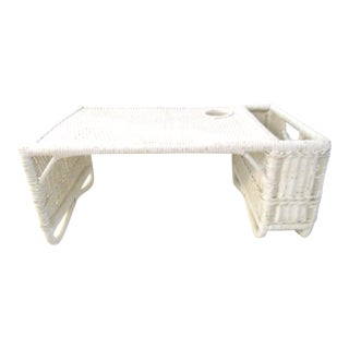 Vintage White Wicker Breakfast Tray