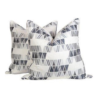 Ivory Gray Aztec Embroidered Pillows, a Pair For Sale
