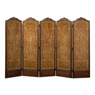 19th Century Régence Style Antique French Five Panel Walnut Needlepoint Screen For Sale