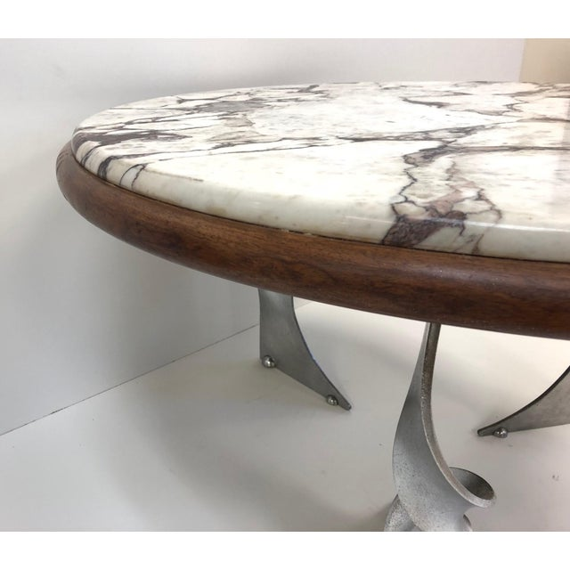 1960s Unique Steel Base and Marble-Top Coffee Table For Sale - Image 5 of 7