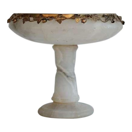 1930's Vintage Italian Alabaster Footed Dish For Sale