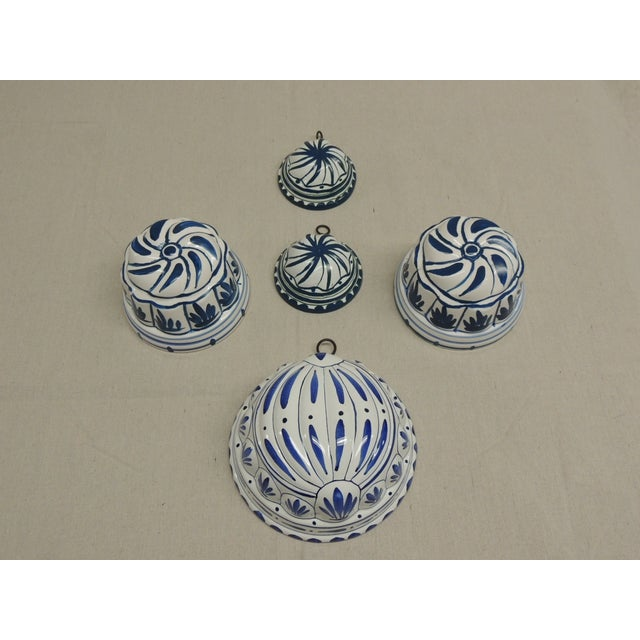 Antique Blue and White Faience Molds - Set of 5 - Image 2 of 4