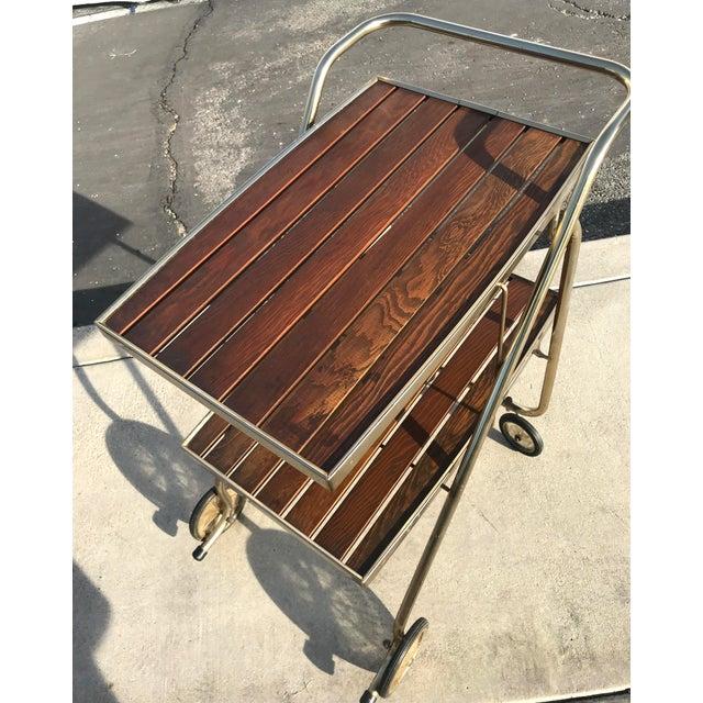 Mid-Century Wood Slat & Metal Rolling Bar Cart - Image 3 of 10