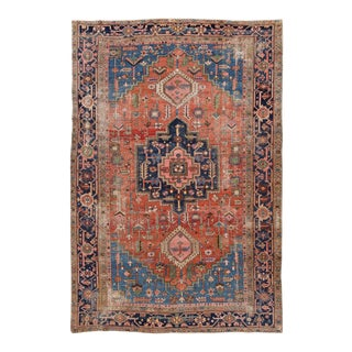 Red Antique Shabby Chic Heriz Handmade Wool Rug For Sale