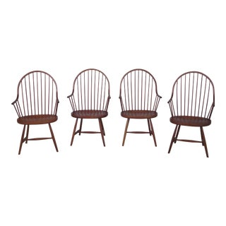 Morton Solid Cherry Bench Made Windsor Arm Chairs - Set of 4