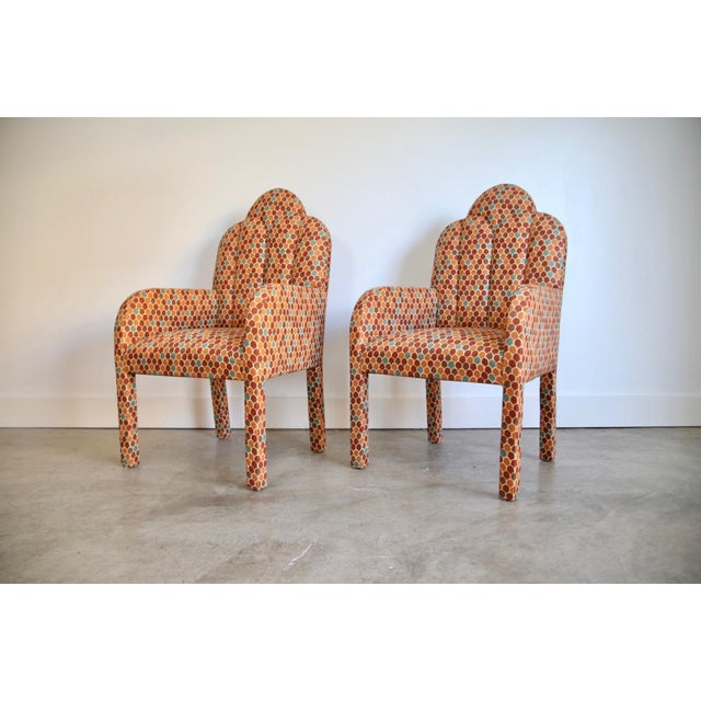Scalloped Postmodern Armchairs- A Pair For Sale - Image 4 of 13