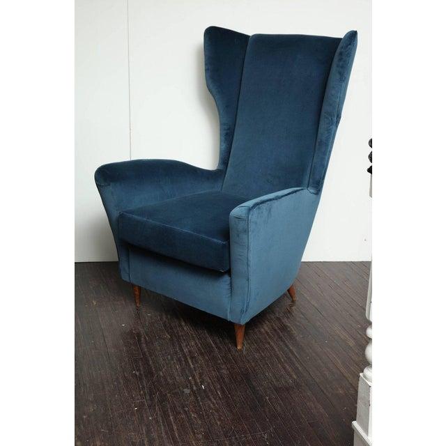 Italian Vintage Italian Modern Wingback Chairs in Blue Velvet For Sale - Image 3 of 8