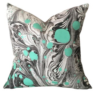 "Marbled Dotty Peacock Teal Pillow Cover - 22"" For Sale"