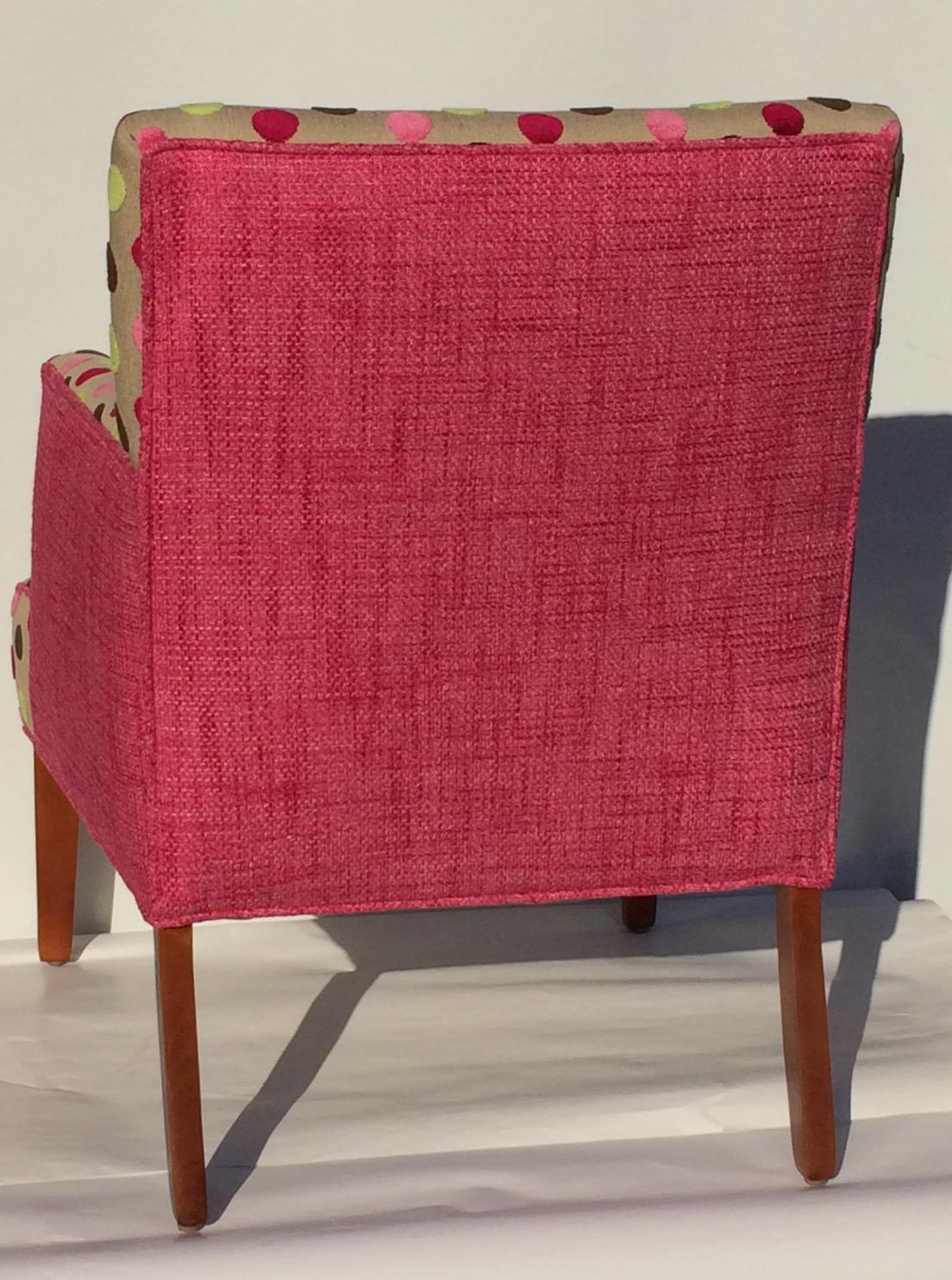 New Upholstery Pink Chenille Polka Dot Upholstered Chair   Image 3 Of 10