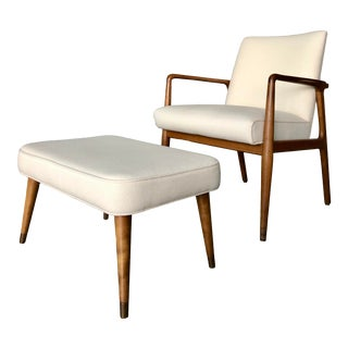 Vintage Stow & Davis Walnut Chair & Ottoman - A Pair For Sale