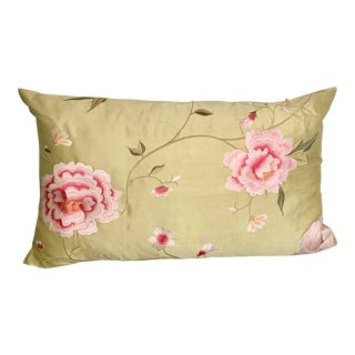 Chartreuse Green Silk Pillow With Pink Embroidered Flowers For Sale