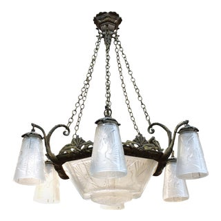 Muller Freres French Art Deco Chandelier For Sale