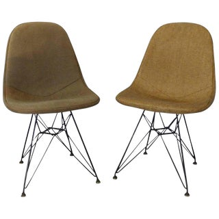 Pair of Early Eames Herman Miller Dkr Chairs on Eiffel Tower Bases With Covers For Sale