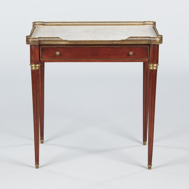 Louis XVI Style Marble-Top Rosewood Side/Serving Table, 1900s - Image 2 of 10