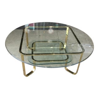 Milo Baughman Style Brass 2-Tier Coffee Table For Sale